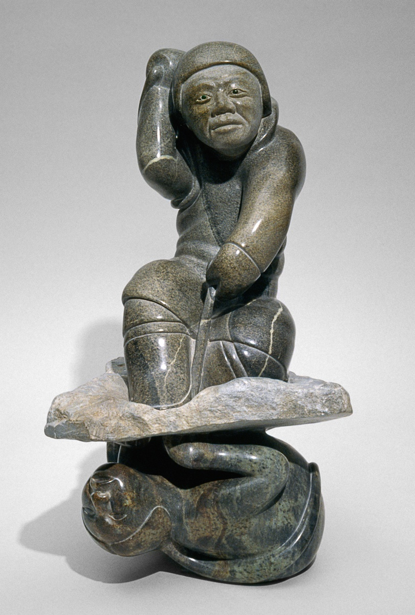 Sedna and hunter sculptures by inuit artist abraham