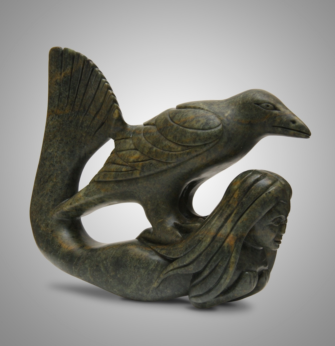 Sedna and Raven - Sculptures by Inuit Artist Abraham ...