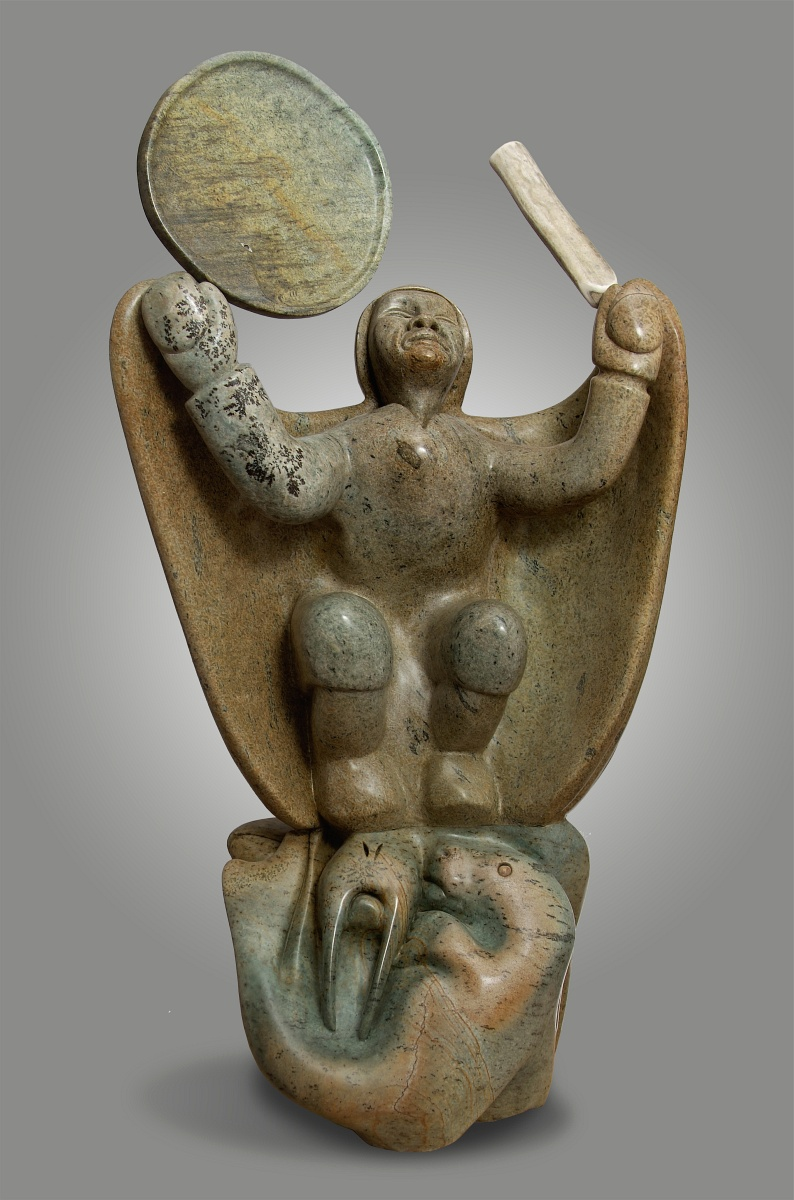 Shaman beckoning sedna inuit sculpture of inuvialuit