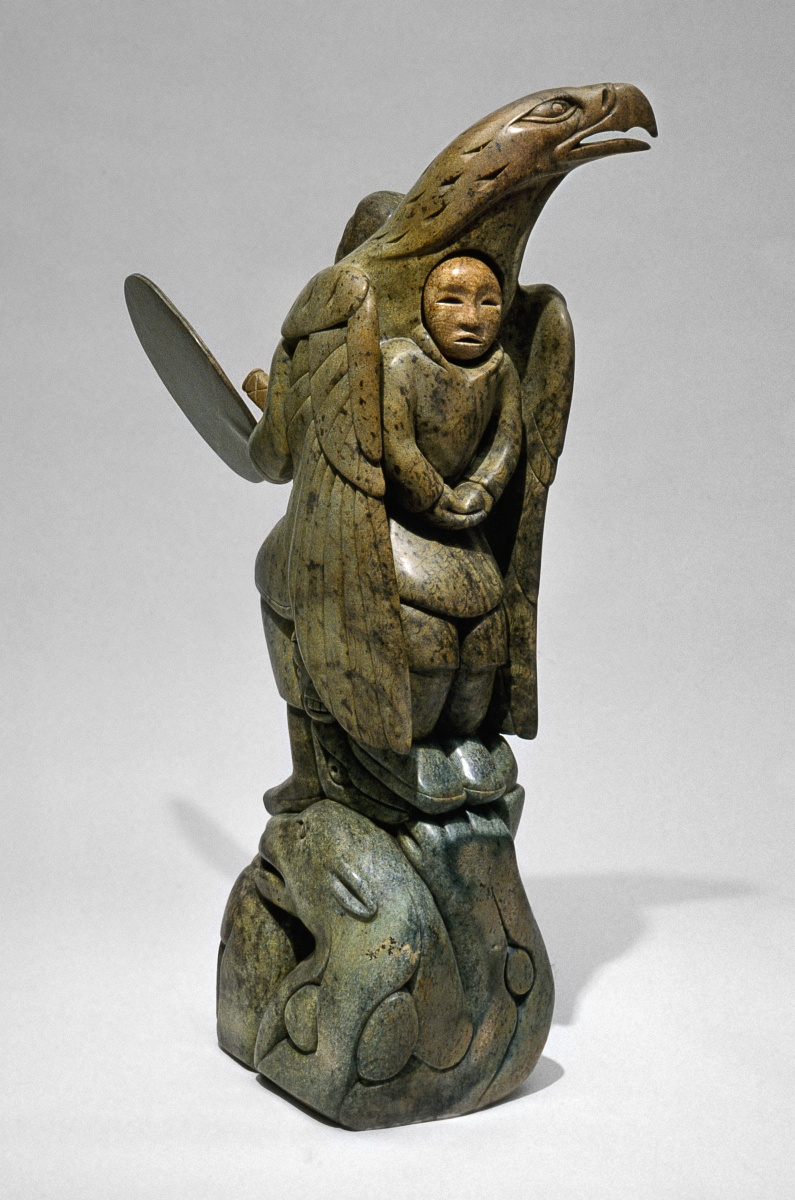 Spirits of the great hunt soapstone inuit sculpture by a